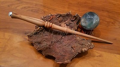 Handmade Madrone Wood Wand with Sterling Silver, Copper and Moonstone