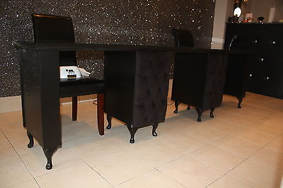 3 person Manicure Desk - French Style Shabby Chic - supplied with glass top
