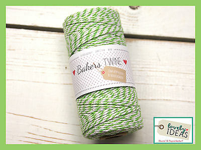 (0.09€/m) Baker's Twine grass green/WHITE 90m Roll Bakers Cord Craft cord