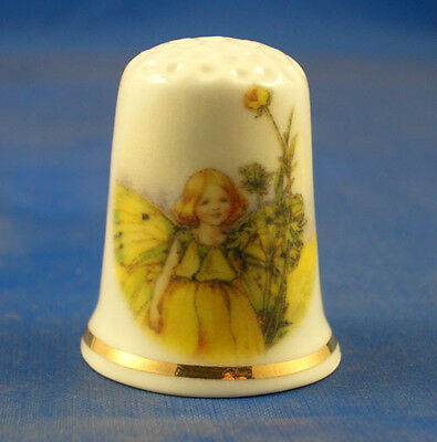 Birchcroft China Thimble -- Buttercup Fairy with Free Dome Gift Box