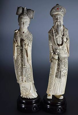 Pair Antique Pre-1900 Chinese Carved Statues Figures 12 Inches