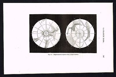 1874 Antique Print - Planet Mars Map, Astronomy, Space, Maedler, Scarce