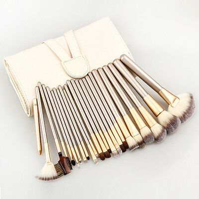 24pcs Pro Makeup Brush Set Champagne Cosmetic Brushes With Leather Storage Bag