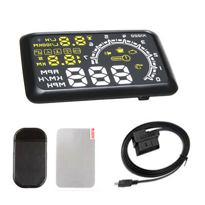 """5.5"""" LED Car HUD Head Up Display OBD2 OBDII Over Speed Warning Yellow White"""