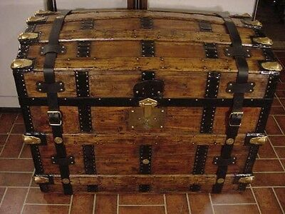 Ladycomet Victorian Refinished Dome Top Steamer Trunk Antique Chest w/Straps&Key