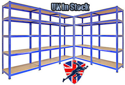 5 Tier Metal Boltless Garage Racking Shelving Heavy Duty Shelf Bay Blue Unit