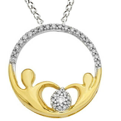 1/6ct April Birthstone Real Diamond Circle Pendant Yellow Gold Plated 925 Silver