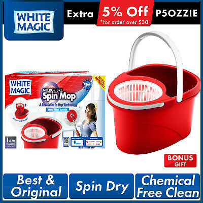 White Magic Hand Press 360 Spin Mop Bucket System + Microfibre Mop Head