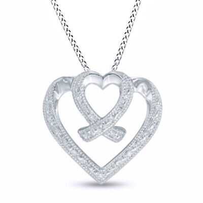 1/10CT Natural Diamond Layered Double Heart Crossover Pendant In Sterling Silver