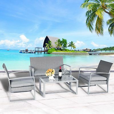 4 PC Outdoor Rattan Wicker Furniture Set Sectional Garden Lawn Cushion Chair