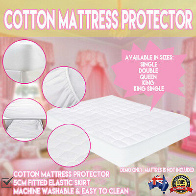 White 100% Cotton Mattress Protector Cover Fitted Elastic Skirt