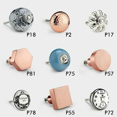 Large Selection Of Vintage Copper Grey Ceramic Door Handle Cupboard Drawer Knobs