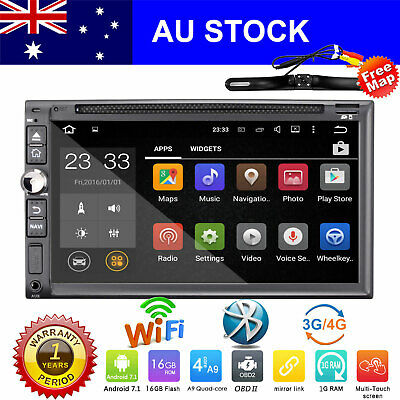 """Free Camera 7"""" Double DIN Car Stereo GPS In-Dash Head Unit Radio Touch Screen SD"""