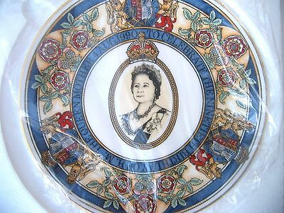 Caverswall Commemorative Plate 90th Birthday of the Queen Mother 1990