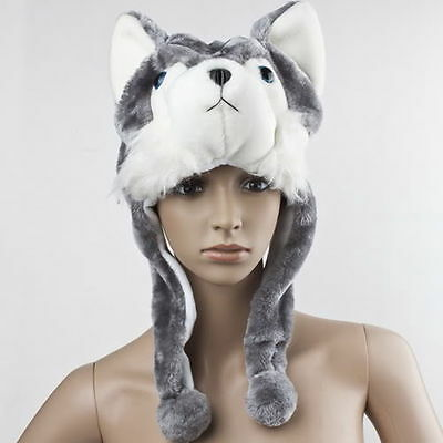 Cartoon Animal Wolf/Husky Cute Fluffy Plush Warm Hat Cap Scarf Earmuff MascLY