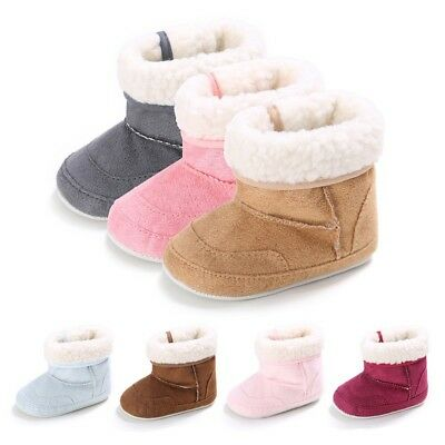 Newborn Infant Boys Girls Warm Winter Shoes Baby Kids Fleece Snow Booties 0-18M