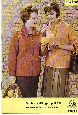 "Vintage Knitting Pattern for Lady's Jacket with Collar DK 34-44"" 9041"