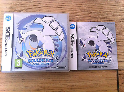 *no Game* Pokemon Soulsilver Case & Instructions Only Nintendo Ds Soul Silver