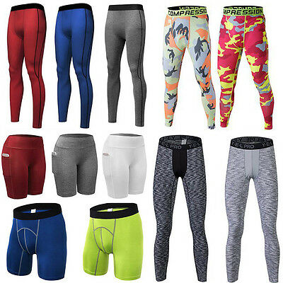 Men's Athletic Sports Running Compression Legging Base Layer Long Shorts Pants
