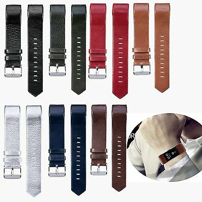 Genuine Leather Wrist Band Strap Bracelet For Fitbit Charge 2 HR Tracker Band