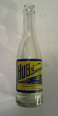 "Rare Canadian (Truro, N.s.)""hub Beverages"" 8 Oz Clear Bottle- Pale Yellow & Blue"
