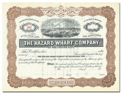Hazard Wharf Company of Baltimore City Stock Certificate