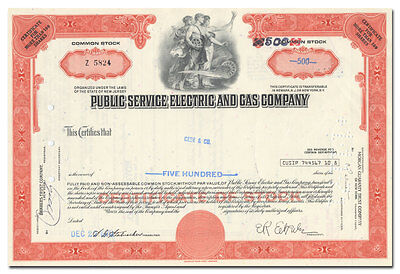 Public Service Electric and Gas Company Stock Certificate (PSE&G, New Jersey)