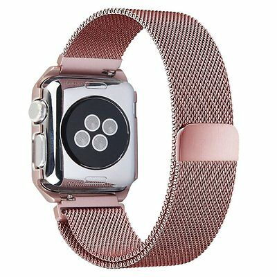 Apple Watch Band 38mm Stainless Steel Bracelet Strap Band iWatch Series Pink USA