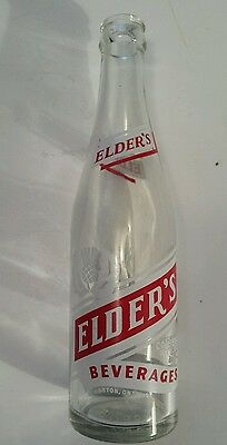 "Vintage Canadian (Kingston) ""elder's"" 10  Oz Clear Glass Bottle-Red & White Acl"