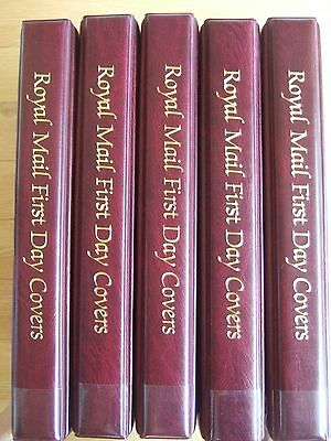 5 x ROYAL MAIL A4 RED FIRST DAY COVER ALBUMS WITH ALBUM LEAVES  VGC