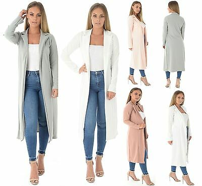 Womens Long Sleeve Open Front Duster Coat Ladies Waterfall Trench Coat Jacket