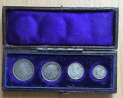 1877 Queen Victoria Maundy 4 Coin Set From Fourpence To Penny In Case