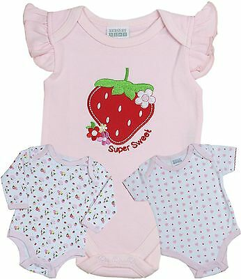BabyPrem Baby Girls Clothes Pack of 3 Bodysuits Vests Tops One Pieces NB - 6m
