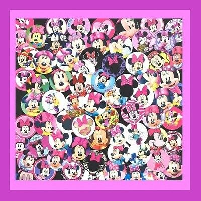 100 Precut assorted Disney MINNIE MOUSE BOTTLE CAP IMAGES Variety 1 inch discs