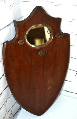 Art Deco Shield Shape Mahogany Cloakroom Mirror - FREE Shipping [P3513]