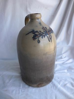 Large Antique Old Blue cobalt floral Stoneware Crock Jug Ovoid ~18 inches tall