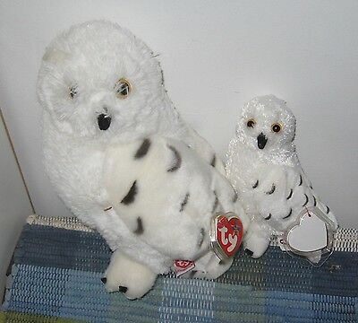 Ty Beanie babies lot of 2  hootie summit snowy owls with hang tags retired plush