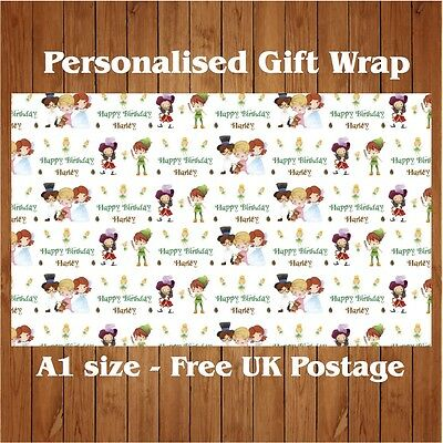 Personalised Peter Pan inspired Birthday Wrapping Paper with 2 tags