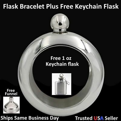 Flask Bracelet Bangle Hip Flask Stainless silver funnel set 3.5 oz Liquor Whisky