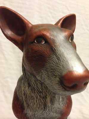 Ceramic Bull Terrier - Hand Painted in Copper & Silver Faux Finish