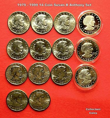 1979-1999  $1 Susan B Anthony Dollar 14 Coin PDS Set w11 Uncirculated & 3 Proofs