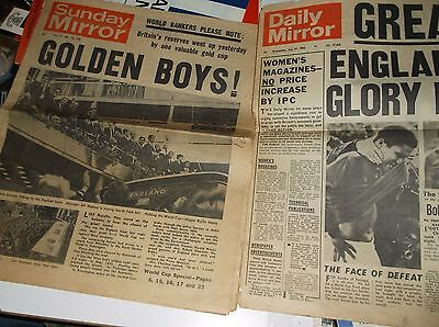 x 2  ENGLAND World Cup Winners 1966 Vintage Newspapers Retro Old Football