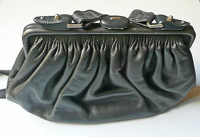Borsa in pelle goffrata nera anni '60 vintage leather bag