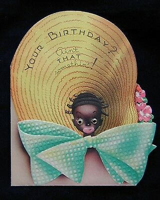 Vintage Black Americana Birthday Greeting Card Glass Eyes Girl Bee Huge Hat Bow