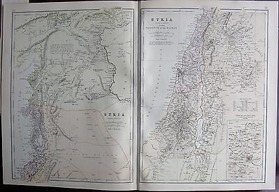1882 Large Antique Map - Syria, North And South, Environs Of Jerusalem