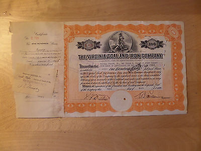 Virginia Coal and Iron Company stock certificate 1926 Thayer