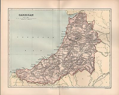 1895 Antique County Map-Wales - Cardigan Aberystwyth Llantrisant Lampeter