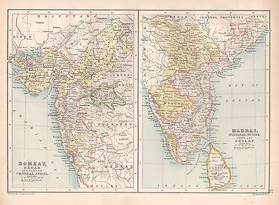 1900 Large Map Bombay, Berar And Part Of Central India, Madras Hydrabad & Mysore