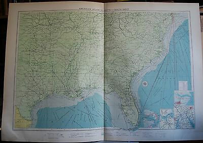 1915  Large Antique Mercantile Map - American Atlantic Ports-South Sheet