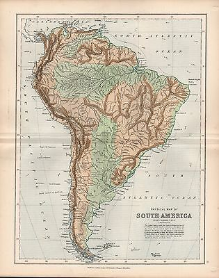 1875 Ca ANTIQUE MAP - PHYSICAL MAP OF SOUTH AMERICA